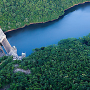 Aerial of Mollejon Dam on the Macal River in the Cayo District, Belize