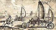 Sand sailing on a Dutch beach. Circa 17th century