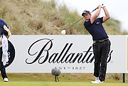 Scottish Open winner 2011. Luke Donald teeing off teh Ballantine's Eagle hole on the 12th.