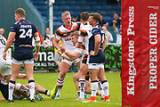 Bradford Bulls replacement Sam Hallas (29) powers through on the line to score a try and celebrates to make the score  10-20 during the Kingstone Press Championship match between Swinton Lions and Bradford Bulls at the Willows, Salford, United Kingdom on 20 August 2017. Photo by Simon Davies.