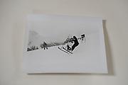Hugo rittson-Thomas on a stepladder. Dangerous Sports Club ski race. St. Moritz. 1983.