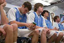 22 March 2008: North Carolina Tar Heels defenseman midfielder Michael J. Burns (26) and defenseman Tim Kaiser (22) in the locker room before playing the Maryland Terrapins at Fetzer Field in Chapel Hill, NC.