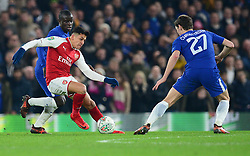 Alexis Sanchez of Arsenal turns inside of Andreas Christensen of Chelsea - Mandatory by-line: Alex James/JMP - 10/01/2018 - FOOTBALL - Stamford Bridge - London, England - Chelsea v Arsenal - Carabao Cup semi-final first leg