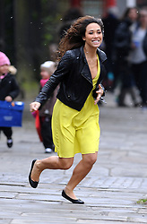 Myleene Klass wearing a bright yellow dress, black leather jacket and flat shoes, makes dash for it after dropping her daighter Ava to school in London, UK. 22/03/2013<br />BYLINE MUST READ : GOTCHAIMAGES.COM<br /><br />Copyright by © Gotcha Images Ltd. All rights reserved.<br />Usage of this image is conditional upon the acceptance <br />of Gotcha Images Ltd, terms and conditions available at<br />www.gotchaimages.com