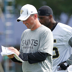 June 5, 2012; Metairie, LA, USA; New Orleans Saints offensive coordinator Pete Carmichael during a minicamp session at the team's practice facility. Mandatory Credit: Derick E. Hingle-US PRESSWIRE