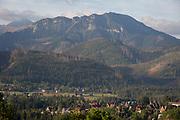 An aerial landscape that overlooks the Tatra mountains in the Polish town of Koscielisko, on 16th September 2019, near Zakopane, Malopolska, Poland.