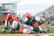 October 3, 2009:  Ohio's Chris Garrett #2 dives for a touch down 5during the NCAA footbal game game between Ohio Bobcats and BGSU Falcons atDoylt Perry Stadium in Bowling Green, Ohio