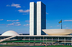 Brasilia, Distrito Federal, Brasil. Agosto/2004.Congresso Nacional/ National Congress in Brasilia, the capital city of Brazil, located in the Brazilian Federal District. UNESCO has declared Brasília a World Heritage Site. The building was designed by Oscar Niemeyer.foto: Marcos Issa