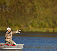 © 2007 Randy Vanderveen, all rights reserved.Spring Lake, Alberta.Brian Chan casts out his line Thursday morning at Spring Lake during the Canadian Fly Fishing Championships, which ran Sept. 20-22.