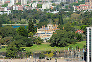 Aerial view of Government House, Royal Botanic Gardens, Sydney, Australia
