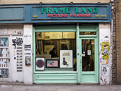 UK ENGLAND LONDON 1MAR14 - Frame Land picture framing shop along Brick Lane in Shoreditch, east London.<br /> <br /> jre/Photo by Jiri Rezac<br /> <br /> © Jiri Rezac 2014