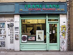 UK ENGLAND LONDON 1MAR14 - Frame Land picture framing shop along Brick Lane in Shoreditch, east London.<br /> <br /> jre/Photo by Jiri Rezac<br /> <br /> &Acirc;&copy; Jiri Rezac 2014
