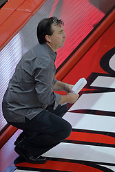 23 October 2015:  Chris Lamb, Wichita State Head Coach during an NCAA women's volleyball match between the Wichita State Shockers and the Illinois State Redbirds at Redbird Arena in Normal IL (Photo by Alan Look)