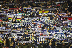 """LIVERPOOL, ENGLAND - Thursday, November 26, 2015: FC Girondins de Bordeaux supporters sing """"You'll Never Walk Alone"""" before the UEFA Europa League Group Stage Group B match against Liverpool at Anfield. (Pic by David Rawcliffe/Propaganda)"""