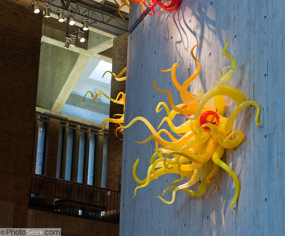 'Six Starbursts' (1996) by Dale Chihuly. Yellow squiggly glass art in Meany Hall auditorium, University of Washington, Seattle, Washington, USA.