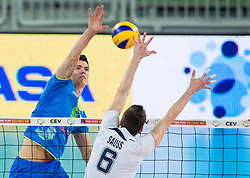 Alen Sket of Slovenia vs Romans Sauss of Latvia during volleyball match between National teams of Slovenia and Latvia in Qualifications for 2015 CEV Volleyball European Championship - Men on May 25, 2014 in Arena Stozice, Ljubljana, Slovenia. Photo by Vid Ponikvar / Sportida