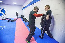 Students working during near the start of the session. Stef Noij, KMG Instructor from the Institute Krav Maga Netherlands, takes the IKMS G Level Programme seminar today at the Scottish Martial Arts Centre, Alloa.