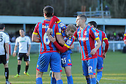 Crystal Palace players congratulate Scott Dann for his second goal during the The FA Cup Third Round match between Dover Athletic and Crystal Palace at Crabble Athletic Ground, Dover, United Kingdom on 4 January 2015. Photo by Phil Duncan.