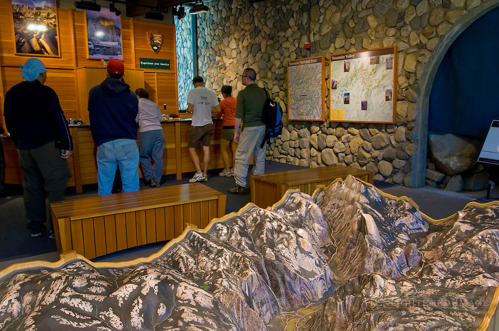 Scale topographic model of Yosemite Valley in the Visitor Center, Yosemite National Park, California