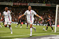Lyon's Karim Benzema celebrates his goal during the match Lyon vs Toulouse at 'Gerland' Stadium in Lyon, France on August 10, 2008. Lyon won 3-0 in the match. Photo by Sebastien Boue/Cameleon/ABACAPRESS.COM