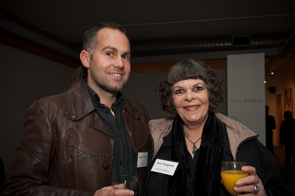 James Hardy, Jen Toogood. Pataka cocktail function. Photo by Mark Tantrum