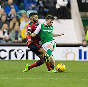 4th November 2017, Easter Road, Edinburgh, Scotland; Scottish Premiership football, Hibernian versus Dundee; Dundee's Faissal El Bakhtaoui tackles Hibernian's Lewis Stevenson