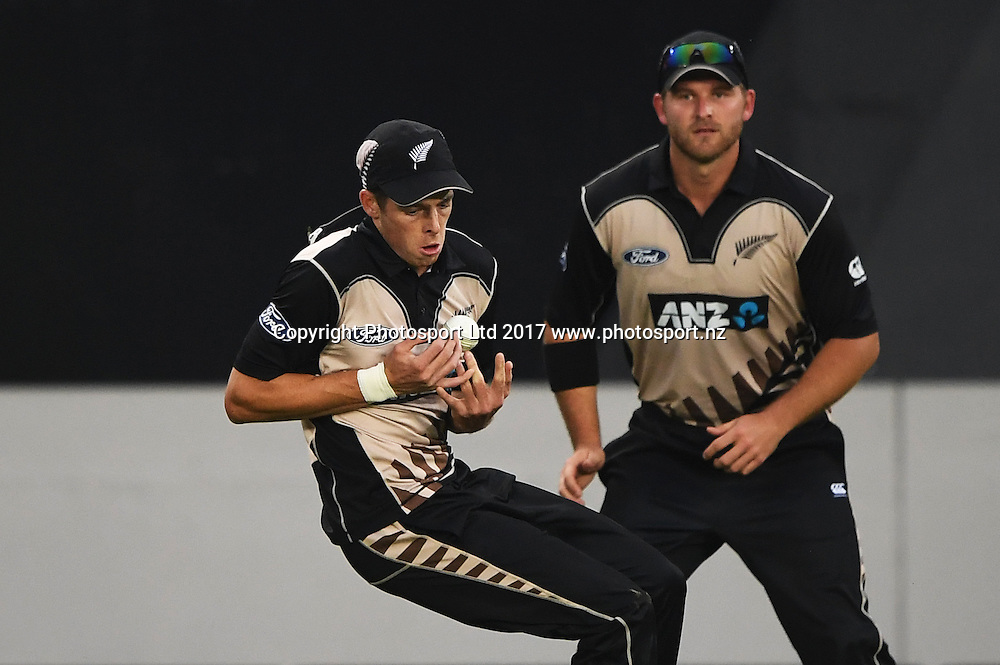 Mitchell Santner drops a catch and a chance to dismiss du Plessis. International Twenty20 Cricket. New Zealand Black Caps v South Africa, Eden Park, Auckland, New Zealand. Friday 17 February 2017 © Copyright photo: Andrew Cornaga / www.photosport.nz