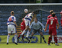 Photo: Lee Earle.<br /> Queens Park Rangers v Cardiff City. Coca Cola Championship. 21/04/2007.QPR's Dexter Blackstock (C) heads home their opening goal.