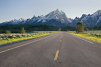 Park road in Grand Teton National Park Wyoming