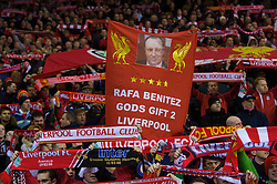 "LIVERPOOL, ENGLAND - Monday, January 21, 2008: Liverpool supporters show their support for manager Rafael Benitez with a banner reading; ""Rafa Benitez Gods (sic) Gift 2 Liverpool"" during the Premiership match at Anfield. (Photo by David Rawcliffe/Propaganda)"