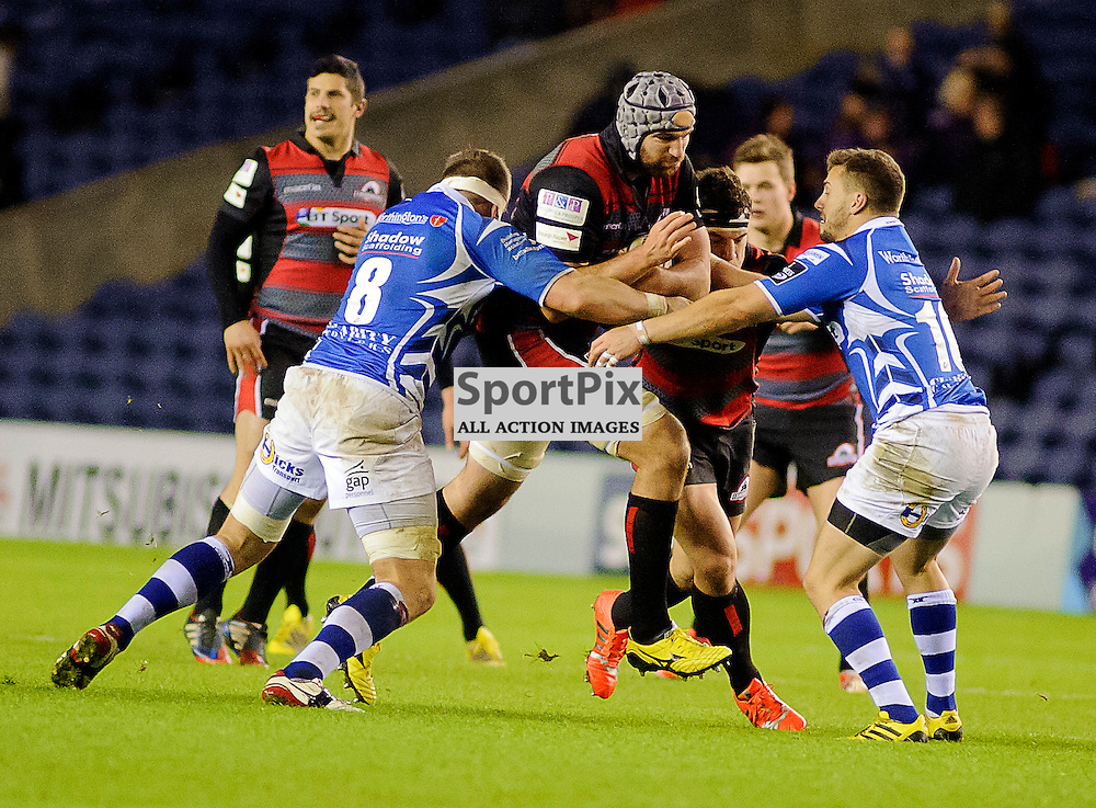 27/11/2015, Murrayfield, Scotland, Fraser McKenzie drives at the dragons defence during the Edinburgh Rugby v Dragons Guinness PRO12 game, ......(c) COLIN LUNN | SportPix.org.uk