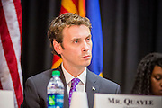 21 MAY 2012 - PHOENIX, AZ:    CONGRESSMAN BEN QUAYLE (R-AZ 3)  at the US House of Representatives Committee on Homeland Security, Subcommittee on Border and Maritime Security meeting Monday in Phoenix to talk about ways to improve information-sharing among government law enforcement agencies to thwart the flow of illicit drugs from Mexico into Arizona. Republican Congressman Paul Gosar and Ben Quayle, both from Arizona, and Democratic Congresswoman Sheila Jackson Lee, from Texas, attended the meeting.              PHOTO BY JACK KURTZ