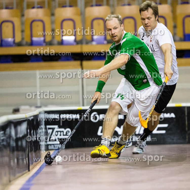 Blaz Srpan of FBK Olimpija vs Pasi Kytola of Downtown Tigers during match for fifth place between Downtown Tigers (FIN) and FBK Olimpija (SLO)  in Floorball Slo Open 2012, on August 26, 2012 in Ljubljana, Slovenia.  (Photo by Matic Klansek Velej / Sportida.com)