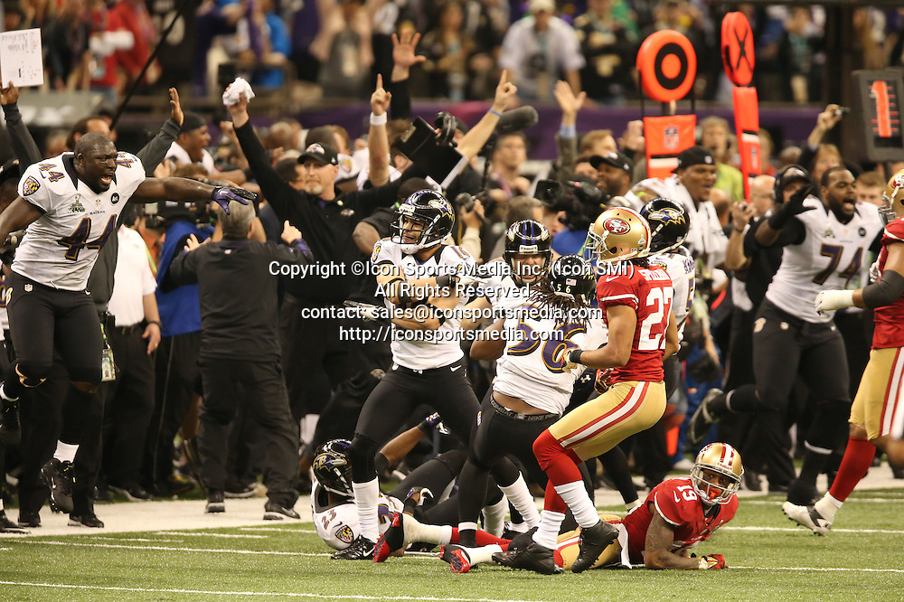 Feb. 3, 2013 - New Orleans, LA, USA - The Baltimore Ravens celebrate at the conclusion of a 34-31 win over the San Francisco 49ers in Super Bowl XLVII at the Mercedes-Benz Superdome in New Orleans, Louisiana, Sunday, February 3, 2013