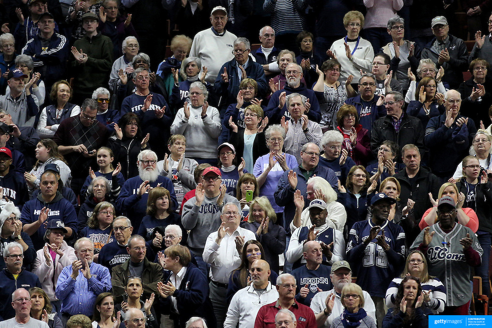 UConn Huskies fans clapping at the start of the game until the first team basket is scored during the UConn Huskies Vs USF  2016 American Athletic Conference Championships Final. Mohegan Sun Arena, Uncasville, Connecticut, USA. 7th March 2016. Photo Tim Clayton