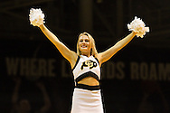 November 24th, 2013:  A Colorado cheerleader during a break in second half action of the NCAA Basketball game between the Harvard Crimson and the University of Colorado Buffaloes at the Coors Events Center in Boulder, Colorado