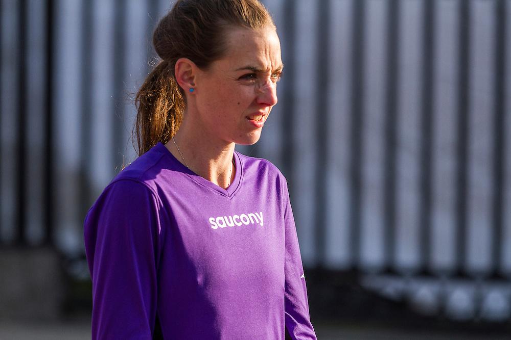 BAA 5K, Molly Huddle warms up