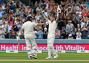 100 - Ben Stokes of England celebrates scoring a century with Jonny Bairstow of England congratulating him during the International Test Match 2019 match between England and Australia at Lord's Cricket Ground, St John's Wood, United Kingdom on 18 August 2019.