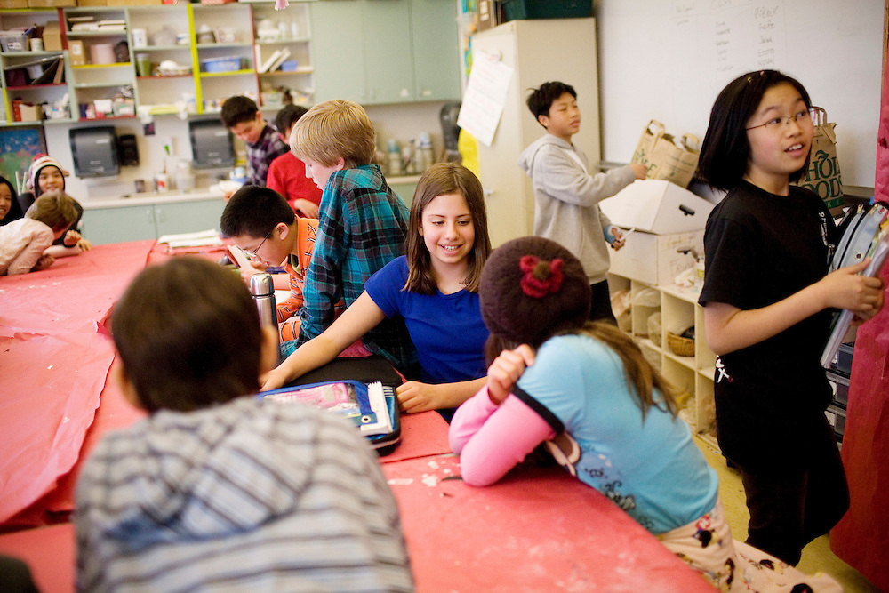 Samantha Chessen, 12, center, with her sixth grade class in Independent Studies class at the Chinese American International School, a prekindergarten through eighth grade Chinese-immersion private school, in San Francisco, Ca., on Tuesday, March 22, 2011. The school has become one of the most competitive to get into in San Francisco. Only a third of its students come from Asian families, and even many of those families do not speak Chinese. Yet parents are relying on Chinese language skills for their kids' future. Lianne Milton for The Wall Street Journal