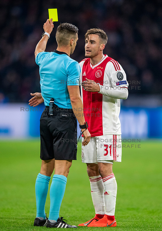 10-04-2019 NED: Champions League AFC Ajax - Juventus,  Amsterdam<br /> Round of 8, 1st leg / Ajax plays the first match 1-1 against Juventus during the UEFA Champions League first leg quarter-final football match / Yellow card Nicolas Tagliafico #31 of Ajax misses the return in Turin
