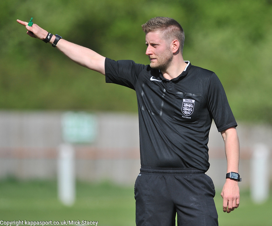REFEREE MR T HANCOCK, Kempston Rovers v Fleet Town, Evostick Southern League Central Saturday 15th April 2017. Score 3-1. Photo:Mike Capps