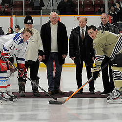TRENTON, ON - Nov 26 : Ontario Junior Hockey League International Exhibition, between the Trenton Golden Hawks and the visiting Adler Mannheim from Germany.<br /> (Photo by Amy Deroche / OJHL Images)