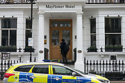 UNITED KINGDOM, London: 06 March 2018 A police car sits outside of the Mayflower Hotel in Earls Court, London this afternoon after a Spanish tourist was found dead and a friend was found critically ill in their hotel room. It has been reported that a high level of gas was found in their room. Rick Findler / Story Picture Agency