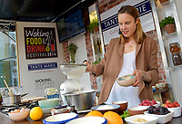 Great British Bake Off 2013 Winner Frances Quinn making marzipan bees as part of the Woking Food Festival.