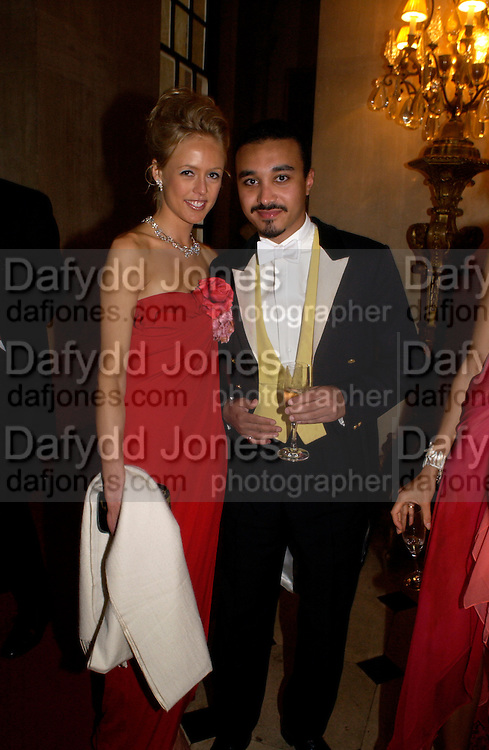 Lady Alexandra Spencer-Churchill and Prince Khalid bin Bandar, Ball at Blenheim Palace in aid of the Red Cross, Woodstock, 26 June 2004. SUPPLIED FOR ONE-TIME USE ONLY-DO NOT ARCHIVE. © Copyright Photograph by Dafydd Jones 66 Stockwell Park Rd. London SW9 0DA Tel 020 7733 0108 www.dafjones.com