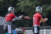 Carolina Panthers quarterbacks Cam Newton (1) and Will Grier (3) warming up during training camp at Wofford College, Sunday, August 11, 2019, in Spartanburg, S.C. (Brian Villanueva/Image of Sport)