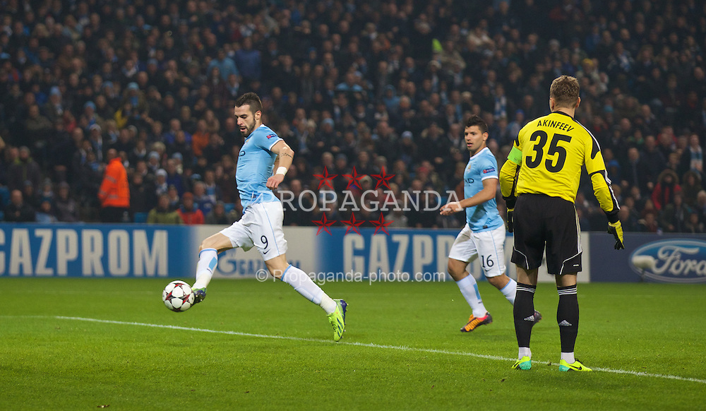 MANCHESTER, ENGLAND - Tuesday, November 5, 2013: Manchester City's Alvaro Negredo scores the fourth goal against CSKA Moscow during the UEFA Champions League Group D match at the City of Manchester Stadium. (Pic by David Rawcliffe/Propaganda)