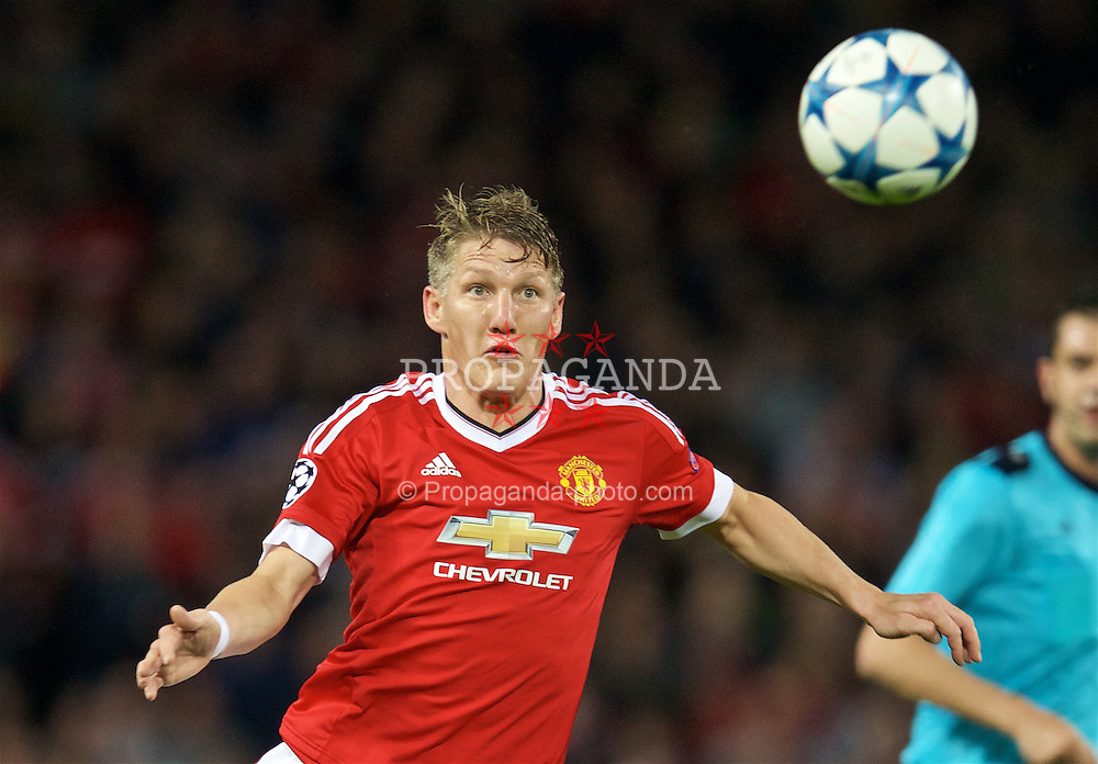 MANCHESTER, ENGLAND - Wednesday, September 30, 2015: Manchester United's Bastian Schweinsteiger in action against VfL Wolfsburg during the UEFA Champions League Group B match at Old Trafford. (Pic by David Rawcliffe/Propaganda)