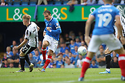 GOAL Brett Pitman opens the scoring for Portsmouth 1-0 during the EFL Sky Bet League 1 match between Portsmouth and Rochdale at Fratton Park, Portsmouth, England on 5 August 2017. Photo by Daniel Youngs.