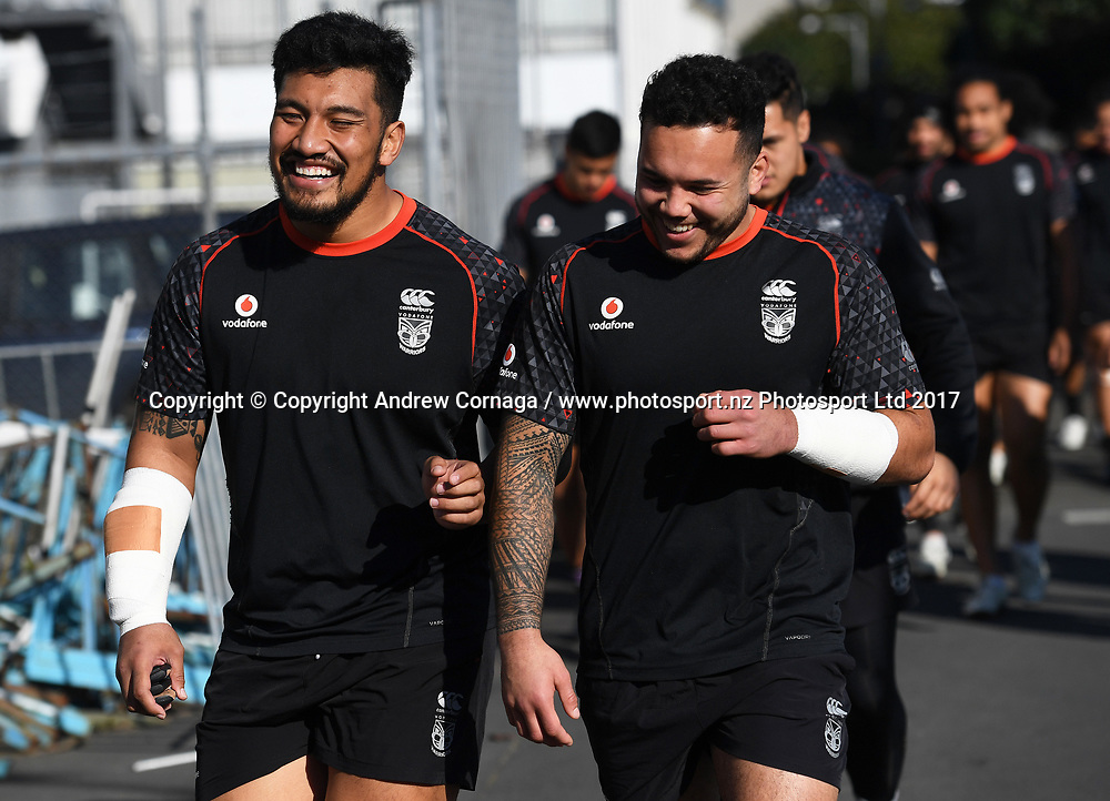 Albert Vete and Jazz Tevaga.<br /> Vodafone Warriors training session. Mt Smart Stadium Auckland, New Zealand. NRL Rugby League. Wednesday 23 August 2017 &copy; Copyright photo: Andrew Cornaga / www.photosport.nz